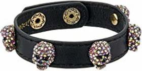 Betsey Johnson Pink and Gold Black Leather Bracele