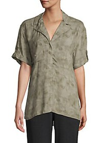 JONES NEW YORK Tonal Roll-Tab Shirt ARMY