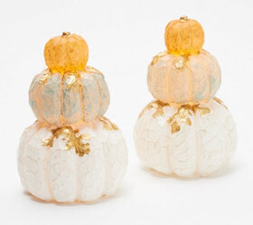 Candle Impressions S/2 Stacked Pumpkins with Gold