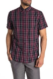 Ben Sherman Plaid Printed Short Sleeve Union Fit S