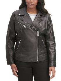 Designer Brand Plus Size Asymmetrical Zip Leather