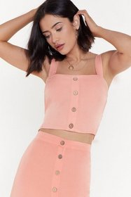 Nasty Gal Womens Coral Button Detail Shirred Back