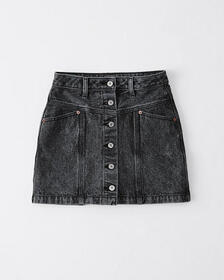 Button-Up Denim Skirt, WASHED BLACK