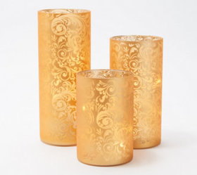 """As Is"" Set of 3 Frosted Scroll Design Hurricanes"