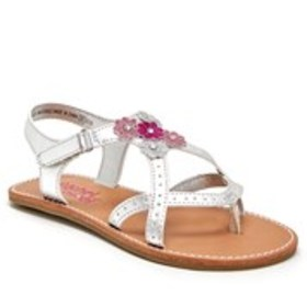 Girls Glitter Flower Thong Sandals