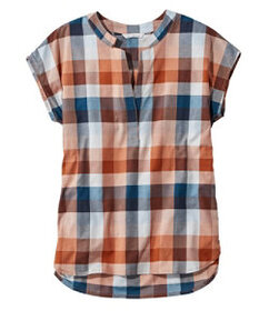 LL Bean Signature Madras Shirt, Short-Sleeve Split
