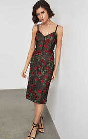 BCBG Floral Embroidered Sheath Dress