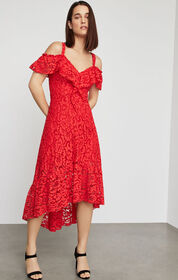 BCBG Lace High-Low Flared Dress