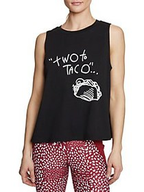 Betsey Johnson Two to Taco Muscle Swing Tank BLACK