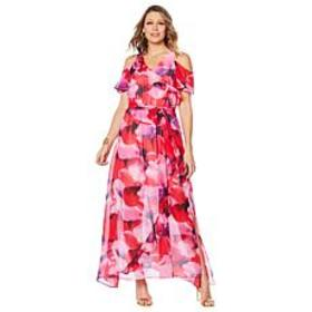"""""""As Is"""" Colleen Lopez Cold Shoulder Printed Maxi D"""