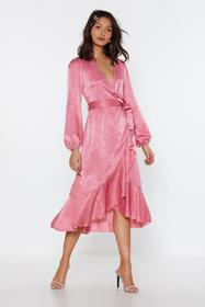 Nasty Gal Womens Rose Frill or Won't You Satin Mid