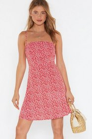 Nasty Gal Womens Red Floral Square Neck Mini Dress
