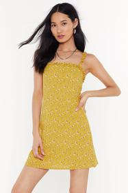 Nasty Gal Womens Yellow Time To Grow Floral Mini D