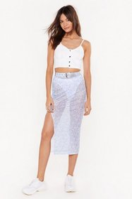 Nasty Gal Womens Blue Floral Obligation Mesh Midi