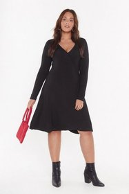 Nasty Gal Womens Black A Plus Looks Wrap Jersey Dr