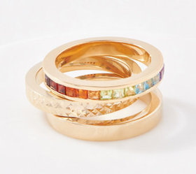 Gold One 1K Gold Set of 3 Stackable Band Ring - J3