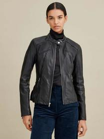 Designer Brand Faux-Leather Scuba Jacket