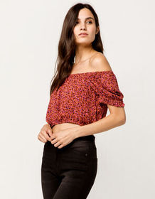 SKY AND SPARROW Ditsy Floral Crop Coral Womens Off