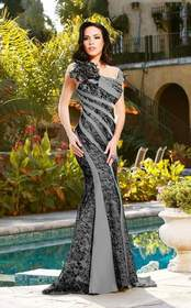 MNM Couture - JD005 Embellished Square Neck Sheath