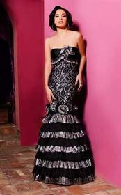 MNM Couture - KH060 Strapless Pleated Floral Layer