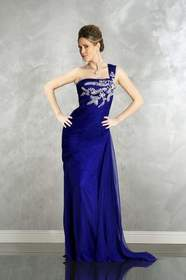 MNM Couture - 5977 Bejeweled One Shoulder Dress