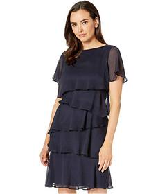 Tahari by ASL Tiered Ruffled Chiffon Dress
