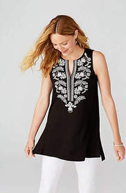 Embroidered Sleeveless Knit Tunic