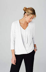 Pure Jill Cotton Cross-Front Top