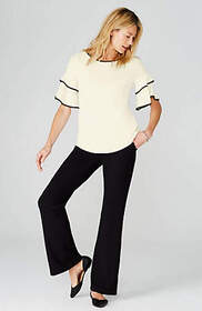 Wearever Piped Ruffled-Sleeve Top