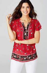 Lace-Trimmed Ruffled-Sleeve Top