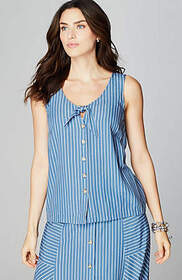 Striped Rayon Tie-Front Tank