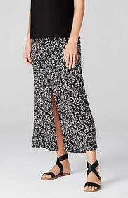 Sketched Ferns Button-Front Maxi Skirt