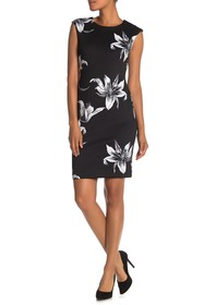 T Tahari Floral Print Cap Sleeve Dress