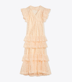 Tory Burch Flocked Tulle Ruffle Gown