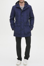 KENNETH COLE Crinkle Hooded Midweight Coat