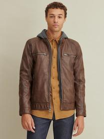 Designer Brand Faux-Leather Jacket with Hood