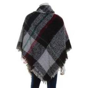Womens Altare Boucle Woven Multi Plaid Square Cape