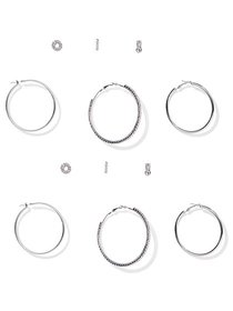 6-Piece Silvertone Post & Hoop Earring Set - New Y