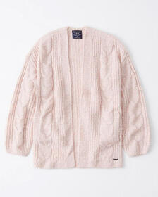 Puffed Sleeve Cable Cardigan, LIGHT PINK