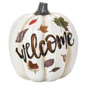 Welcome White Pumpkin with Leaves - 7in.