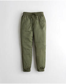 Hollister Ultra High-Rise Satin Joggers, OLIVE
