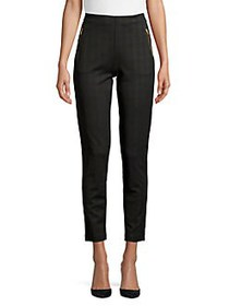 JONES NEW YORK Printed Zip-Pocket Ankle Pants BLAC