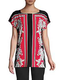 JONES NEW YORK Scarf-Print Top BLACK RED