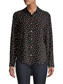 JONES NEW YORK Printed Button-Front Shirt BLACK