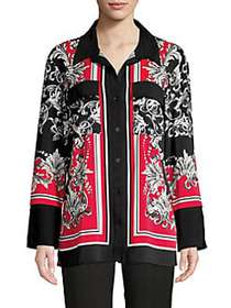 JONES NEW YORK Scarf-Print Long-Sleeve Tunic RED B
