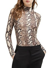 French Connection Animal Printed Mockneck Top NEUT