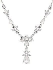 Givenchy Silvertone and Crystal Y-Necklace SILVER