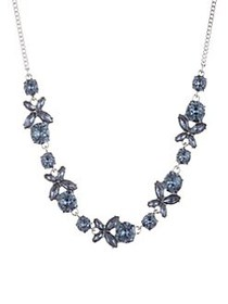 Givenchy Faceted Crystal Necklace SILVER