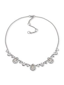 Givenchy Silvertone and Crystal Necklace SILVER