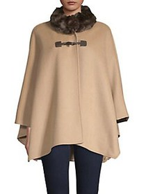 JONES NEW YORK High Neck Faux Fur-Trim Cape LIGHT